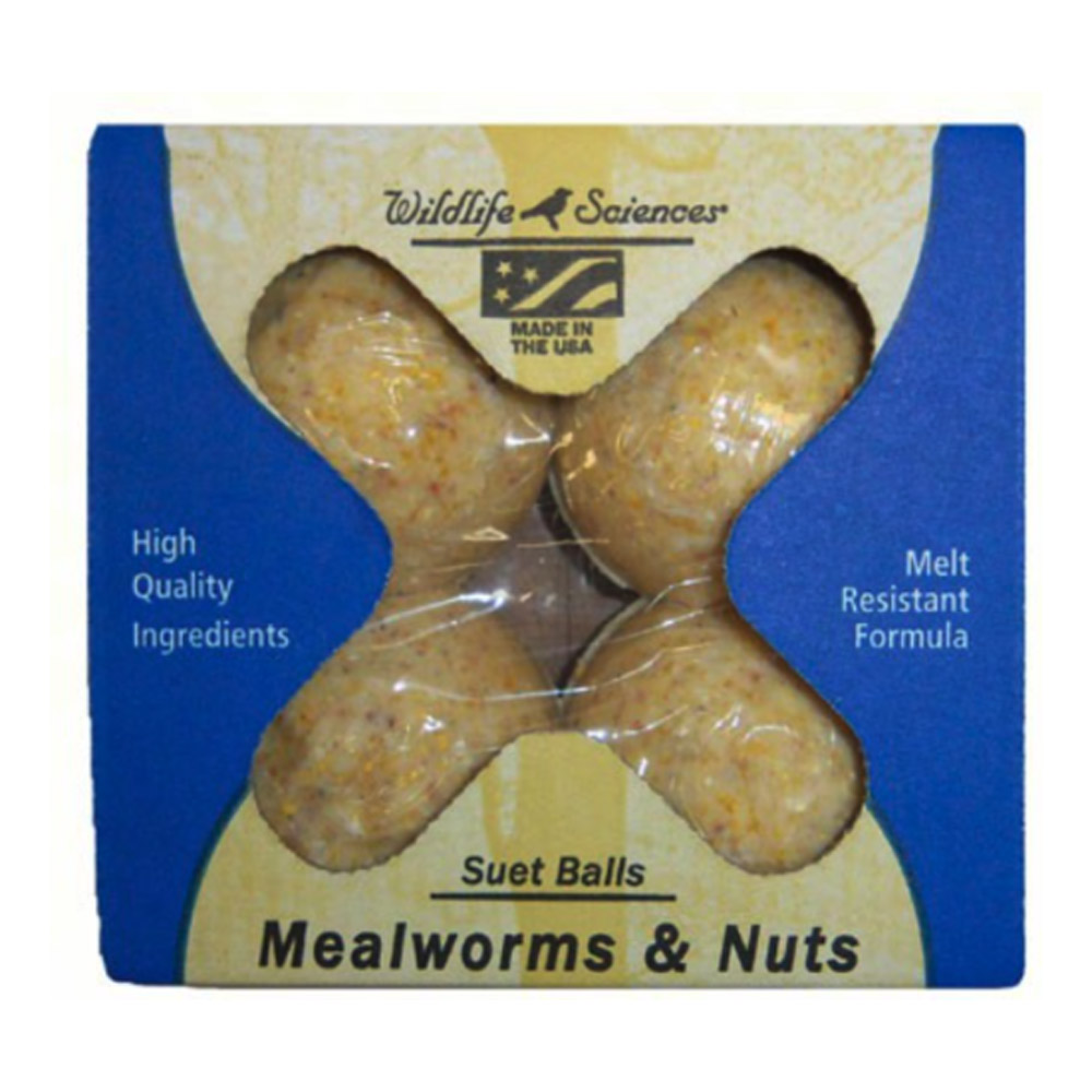 Mealworms and Nuts Suet Balls 4 Pack Wildlife Science